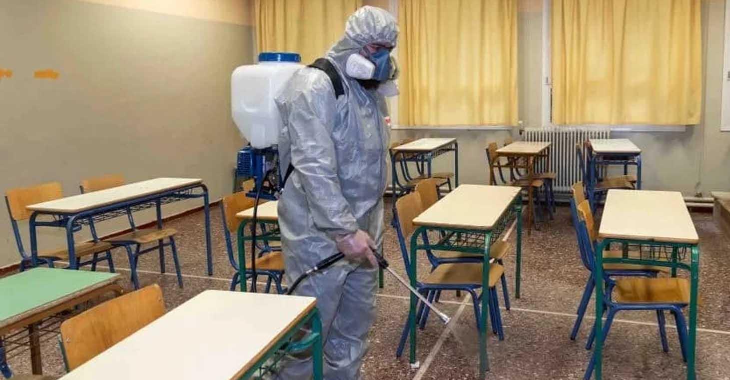 Desinfección de escuelas y espacios de trabajo.